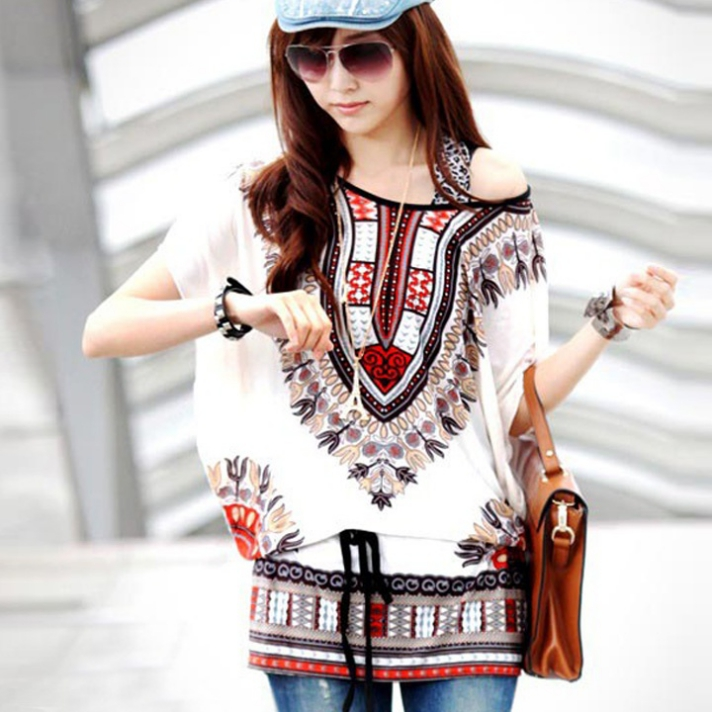 Casual Round Neck Blouse Loose Print Batwing Sleeve Tunic Blouse Tops