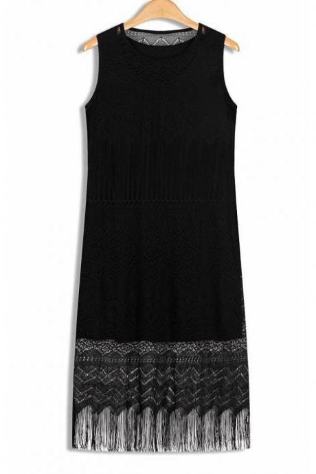 Spring&summer pullover sleeveless lace two-piece dress fringed vest