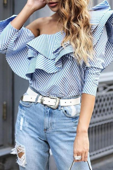 Blue&White Striped Ruffled One Shoulder Long Sleeve Top
