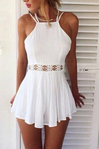 SUSPENDERS LACE MINI DRESS