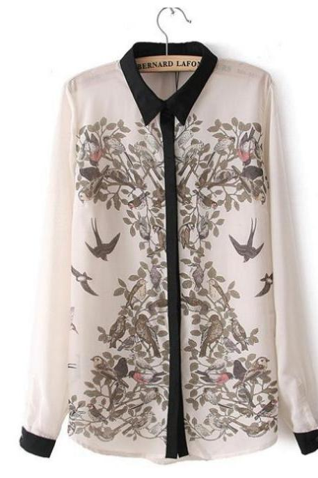 shirt n495 spring&summer European style hand-painted Ink magpie long-sleeved s