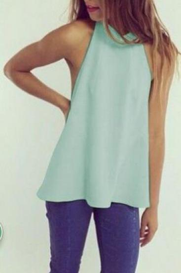 Halter Backless Pure Color Sleeveless Vest