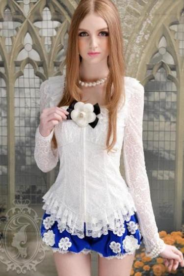 Beautiful Lace Detail White Long Sleeve Blouse