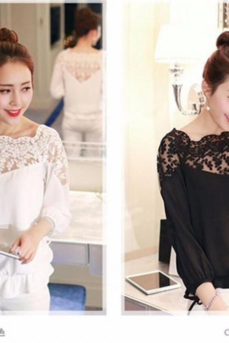 Lace Chiifon Long Sleeve Lace T Shirt Tops Blouse White Black