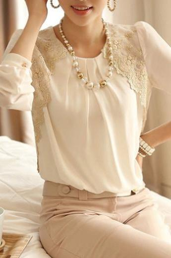 Long Sleeve White Chiffon&Lace Top