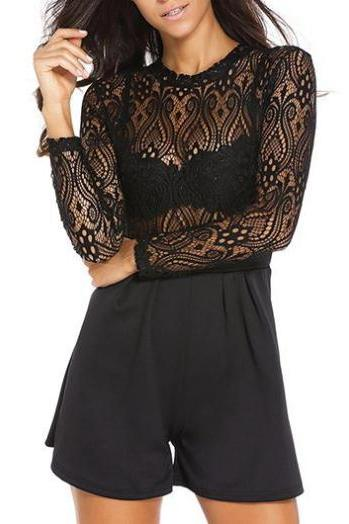 Open Back Lace Panel Black Romper