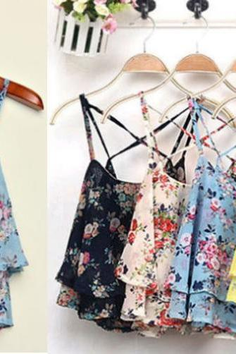 Summer Floral Flower Print Sleeveless Chiffon Tank Tops Vest 4 Colors