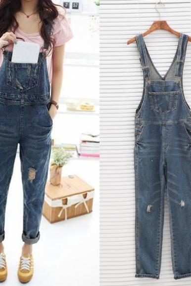 Baggy Denim Jeans Full Length Pinafore Dungaree Overall Jumpsuit