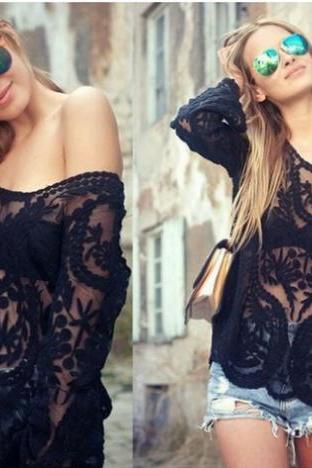 Black Lace Crochet Blouse's Tops