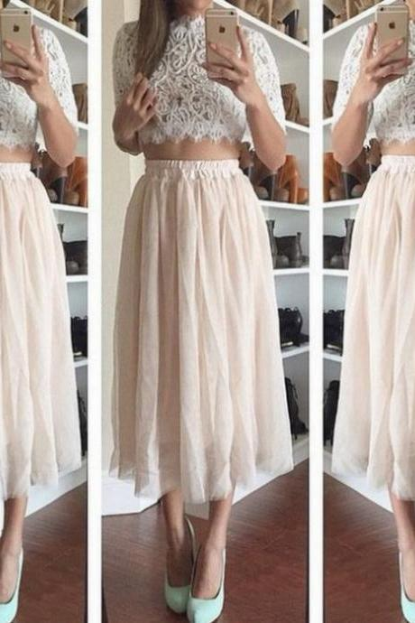 on sale LACE TOP WITH SKIRT TWO PIECE DRESS
