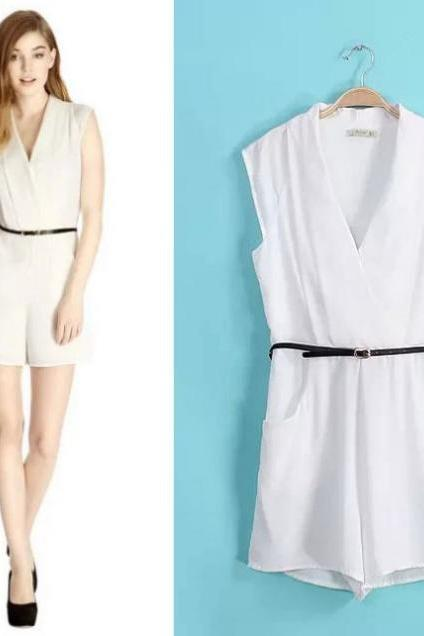 V-neck Sleeveless White Jumpsuit Female Summer Jumpsuits Romper Send Belt