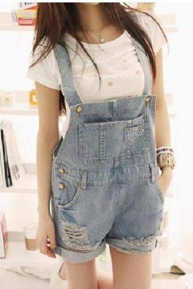 Frayed straps loose denim shorts