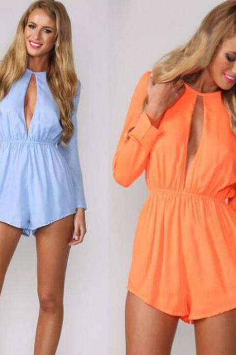 Chiffon Long Sleeve Short Jumpsuit