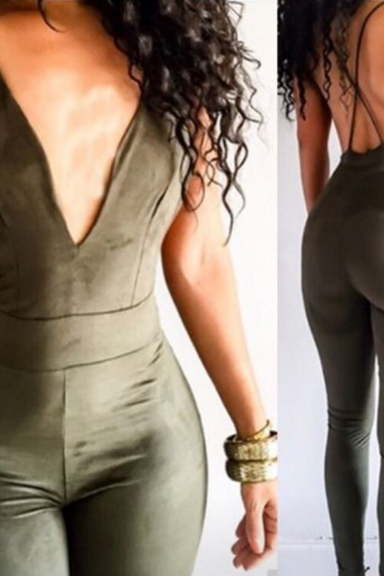 V-NECK SLING JUMPSUIT