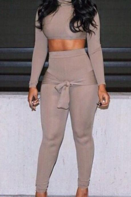 High collar two piece jumpsuit