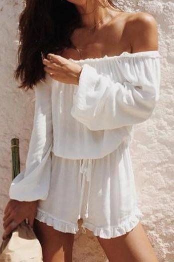 White Long Sleeve Off-The-Shoulder Ruffled Romper