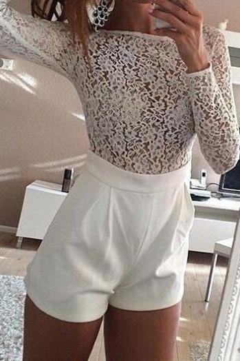Lace Splicing Long Sleeve White Romper