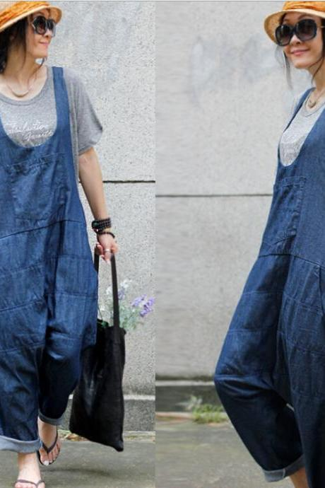 Thin Jeans Pants Suspender Slacks Jumpsuit Plus Size Pants