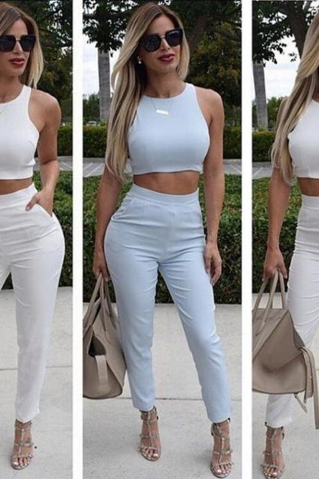sleeveless shirt waist pants two-piece 5211360