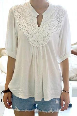 Lace Splicing Crochet Flower 1/2 Sleeve Casual Blouse