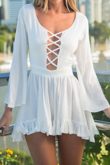 Hollow Back Criss-cross Front Romper