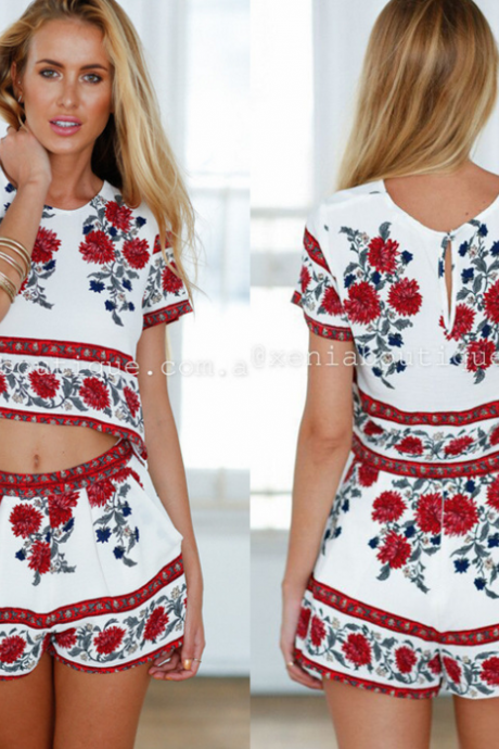 PRINT TWO PIECE FLOWER SUIT ROMPER