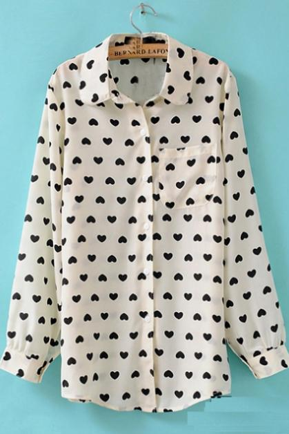 Cute Heart Print Long Sleeve Single Breasted Shirt White
