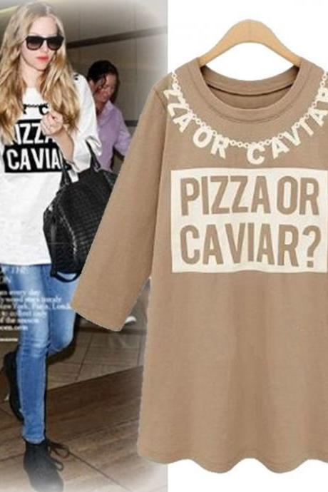 Women's 'Pizza Or Caviar' Letter Printed T-Shirt