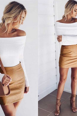 Ribbed Knit Double Layered Off-The-Shoulder Long Sleeved Top