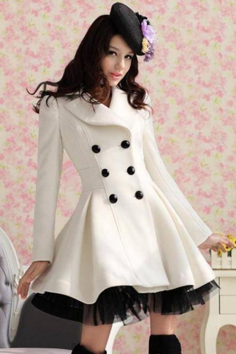 High Quality Fashion Wool Long Winter Dress Coat For Women - White