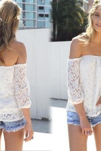 White Lace Appliquéd Off-The-Shoulder Long Sleeved Top