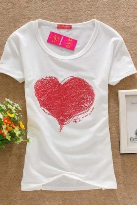 Heart print love tee girl top