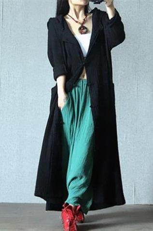 Big Hood Witch Coat Button Up Black Cotton Linen Outfit Cape Magic Cloak Loose Fitting Top WJ347