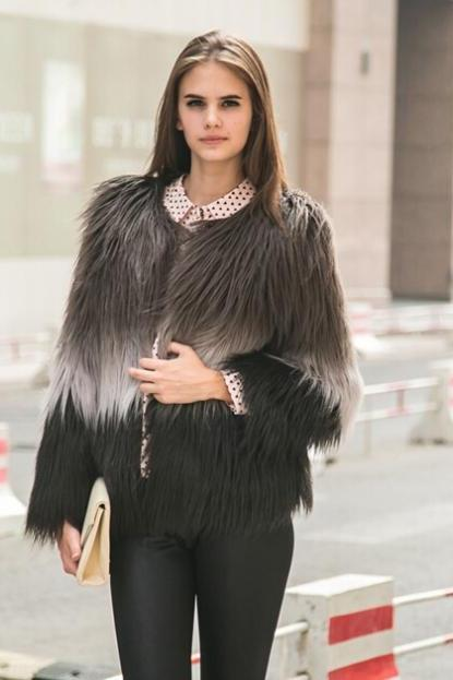 Winter Fashion Women Gradient Color Mixed Faux Fur Coat Jacket Outerwear
