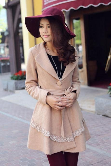 Light Brown Winter Coat With Beautiful Lace Detail