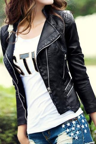 Black Quilted Slim Fit Cropped Motorcycle Jacket Coat