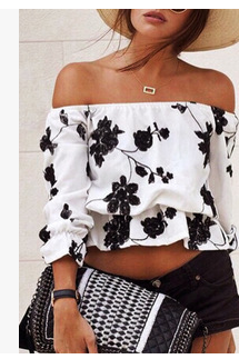 Black Floral Print White Off-The-Shoulder Long Sleeved Ruffled Cropped Top