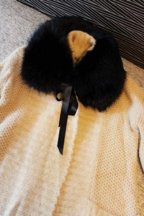 French Mademoiselle elegance fluffy quality faux fur Black Collar carf wrap shawl winter warm romantic