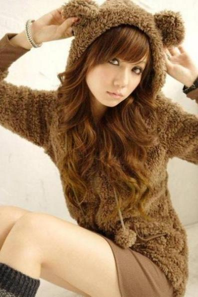 Fluffy Bear Ear Hoodie Hooded Jacket Brown Beige Fashion