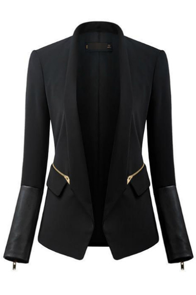 Fashion Long Sleeves PU Patchwork Zippers Designed Black Cotton Blend Blazer