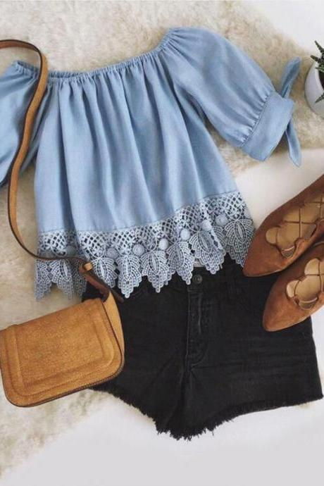 Blue Lace Appliqués Off-The-Shoulder Blouse Featuring Knot Accent Sleeves
