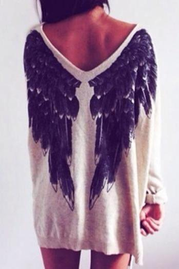 V Neck Angel Wings Top