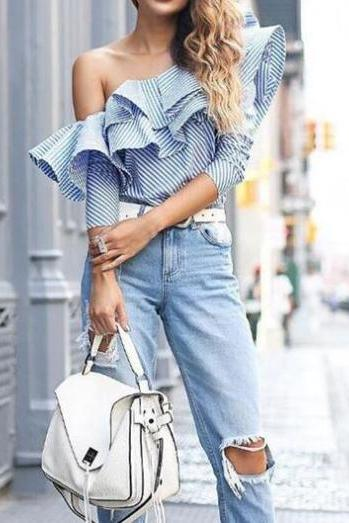Blue White Striped Ruffled One-Shoulder Long Sleeved Top