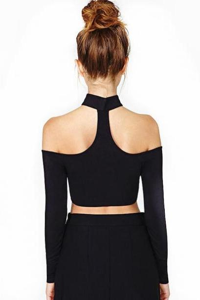Choker Neck Off-The-Shoulder Long Sleeved Cropped Top