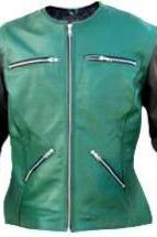 Leather Skin Women Green Collarless Black Sleeves Leather Jacket